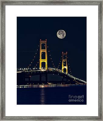 Mackinac Bridge With Moonrise Framed Print by Todd Bielby