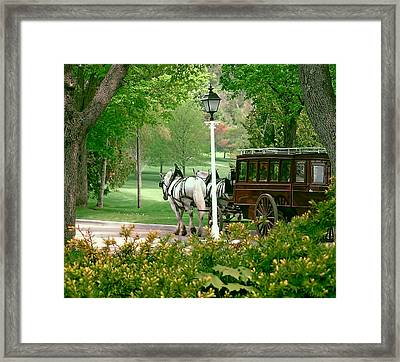 Mackinac Island Arriving In Style Framed Print by Marti Snider