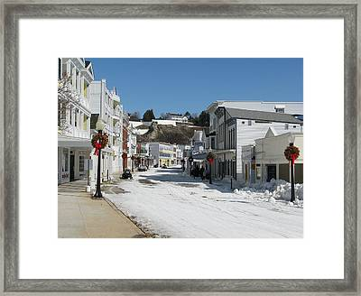 Mackinac Island In Winter Framed Print by Keith Stokes
