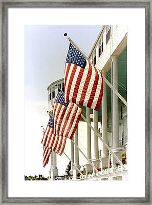 Mackinac Island Michigan - The Grand Hotel - American Flags Framed Print by Kathy Fornal