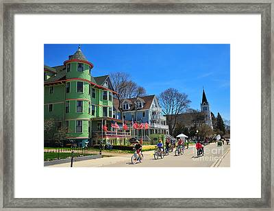 Mackinac Island Waterfront Street Framed Print by Terri Gostola