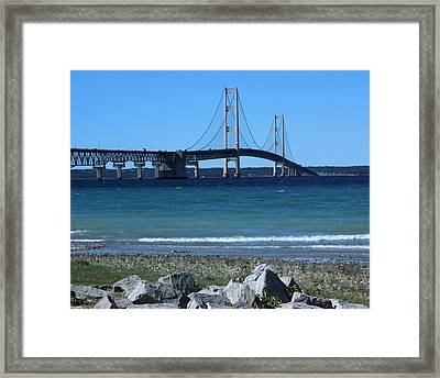 Framed Print featuring the photograph Mackinaw Bridge by Bill Woodstock
