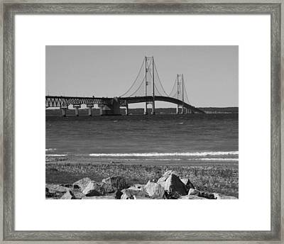 Framed Print featuring the photograph Mackinaw Bridge Black And White by Bill Woodstock