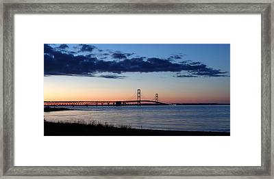 Mackinaw Bridge Twilight Framed Print by Keith Stokes