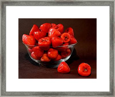 Macopa Fruit  In A Glass Bowl Framed Print by Harold Bonacquist
