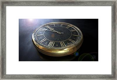 Macro Antique Watch Midnight Framed Print