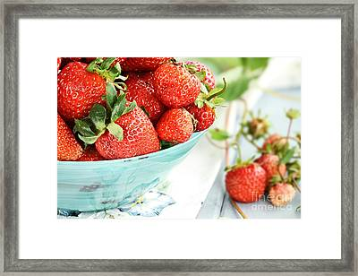 Macro Of Fresh Strawberries  Framed Print by Stephanie Frey