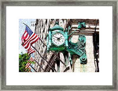 Macy's Clock In Chicago Framed Print by Paul Velgos