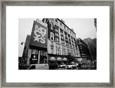 Macys Department Store Broadway Entrance With Yellow Cabs Taxi And Traffic Outside New York City Framed Print