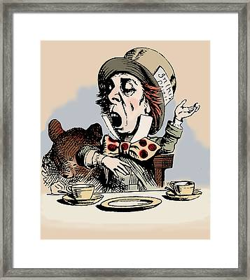 Mad Hatter Color Framed Print by John Tenniel