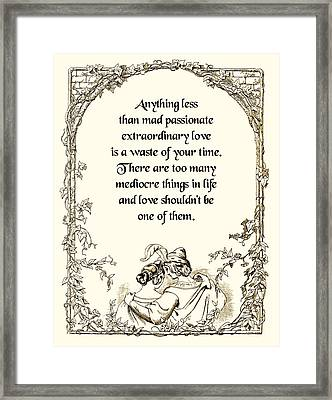 Mad Passionate Love Framed Print by Mike Flynn