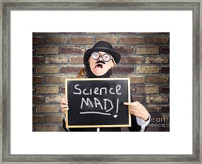 Mad Scientist Showing Blank Science Diagram Framed Print