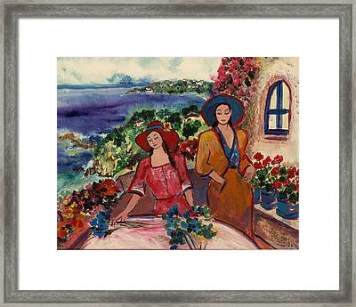 Framed Print featuring the painting Madame And Mademoiselle by Elaine Elliott