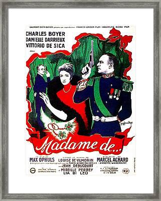 Madame De..., Aka The Earrings Of Framed Print by Everett