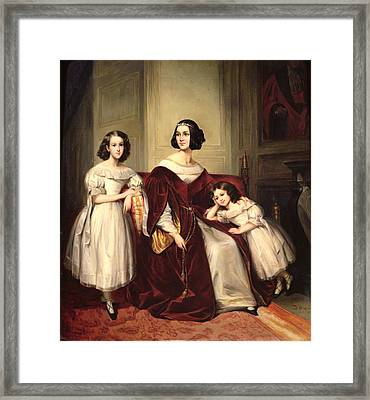 Madame De Nonjon And Her Two Daughters, 1839 Oil On Canvas Framed Print by Joseph Nicolas Jouy