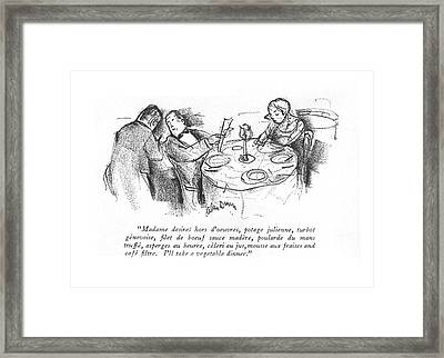 Madame Desires Hors D'oeuvres Framed Print by Alan Dunn