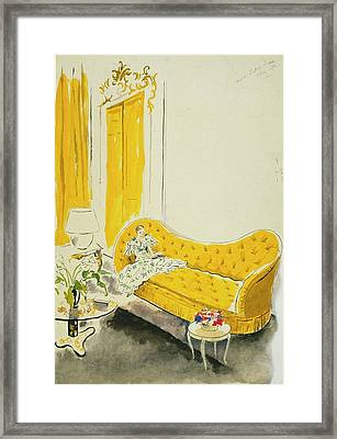 Madame Luce On A Yellow Sofa Framed Print by Cecil Beaton