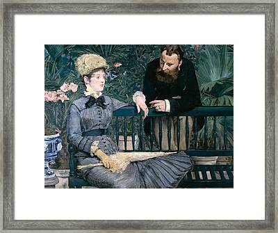 Madame Manet In Greenhouse Framed Print by Edouard Manet