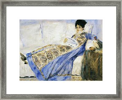 Madame Monet Reading Framed Print by Pierre-Auguste Renoir