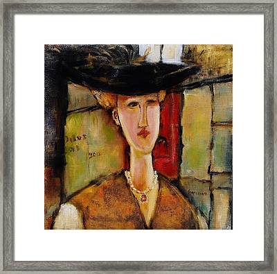 Madame Pompador As A Tribute To Modigliani Framed Print