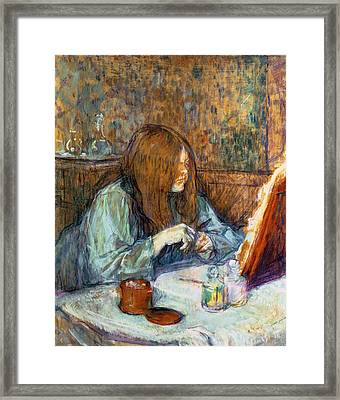Madame Poupoule At Her Toilet Framed Print by Henri de Toulouse-Lautrec