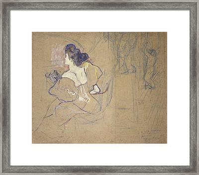 Madame Thad�e Natanson Misia Godebska Framed Print by Henri de Toulouse-Lautrec