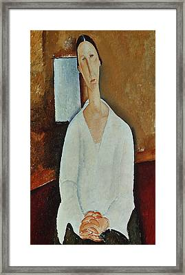 Madame Zborowska With Clasped Hands Framed Print