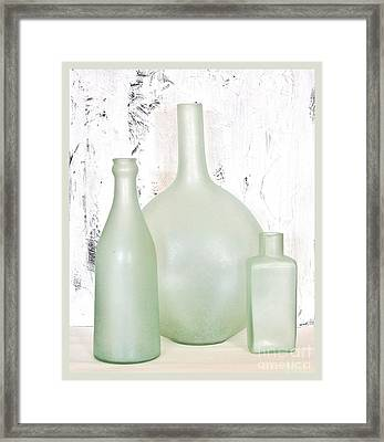 Made In India Sea Glass Bottles Framed Print by Marsha Heiken