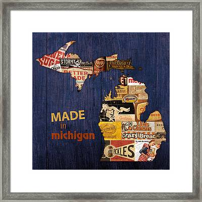 Made In Michigan Products Vintage Map On Wood Framed Print