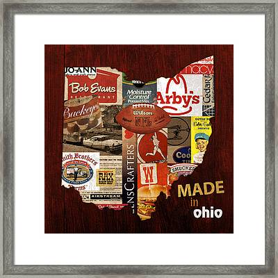 Made In Ohio Products Vintage Map On Wood Framed Print by Design Turnpike