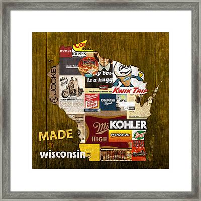 Made In Wisconsin Products Vintage Map On Wood Framed Print by Design Turnpike
