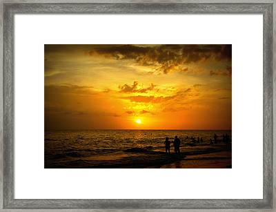 Framed Print featuring the photograph Madeira Sunset by Laurie Perry