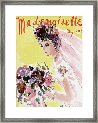 Mademoiselle Cover Featuring A Bride Framed Print by Helen Jameson Hall
