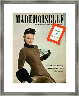 Mademoiselle Cover Featuring A Model As A War Framed Print