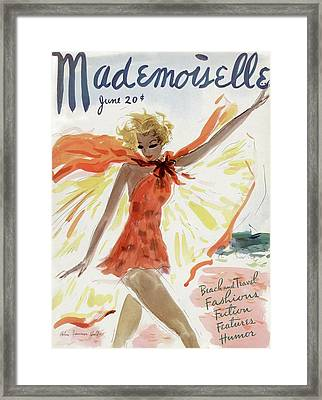 Mademoiselle Cover Featuring A Model At The Beach Framed Print
