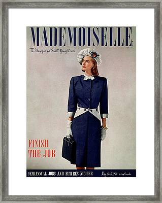 Mademoiselle Cover Featuring A Model In A Duchess Framed Print by Fritz Henle