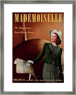 Mademoiselle Cover Featuring A Model In A Green Framed Print