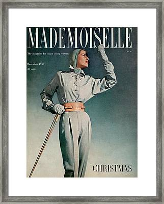 Mademoiselle Cover Featuring A Model In A Ski Framed Print