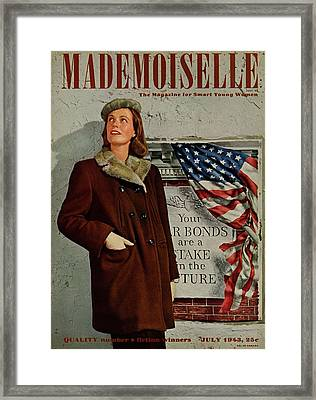 Mademoiselle Cover Featuring A Model In Front Framed Print