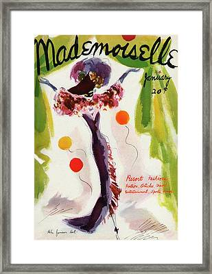 Mademoiselle Cover Featuring A Model Wearing Framed Print