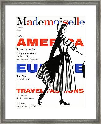 Mademoiselle Cover Featuring A Model Wearing Framed Print by  Somoroff