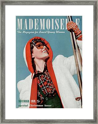 Mademoiselle Cover Featuring A Skier Framed Print by Paul D'Ome