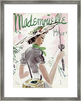 Mademoiselle Cover Featuring A Woman Holding Framed Print by Helen Jameson Hall