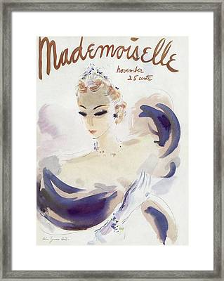 Mademoiselle Cover Featuring A Woman In A Gown Framed Print by Helen Jameson Hall
