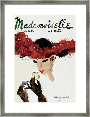 Mademoiselle Cover Featuring A Woman In A Red Framed Print by Helen Jameson Hall