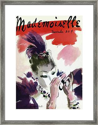 Mademoiselle Cover Featuring A Woman Looking Framed Print by Helen Jameson Hall