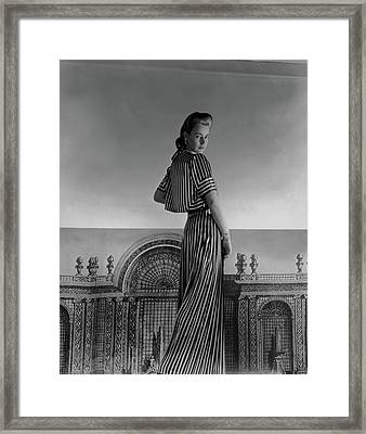 Mademoiselle Guillermo De Blanck In A Satin Dress Framed Print