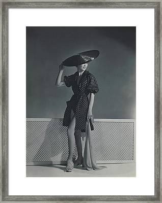 Mademoiselle Lind Wearing A Heim Dress Framed Print