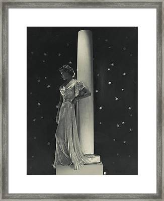 Mademoiselle Lind Wearing A Mainbocher Dress Framed Print by Horst P. Horst