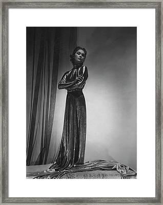 Mademoiselle Lind Wearing A Piguet Dress Framed Print by Horst P. Horst